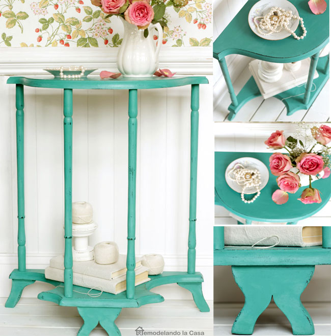 a demilune table is transformed with wood glue and paint.