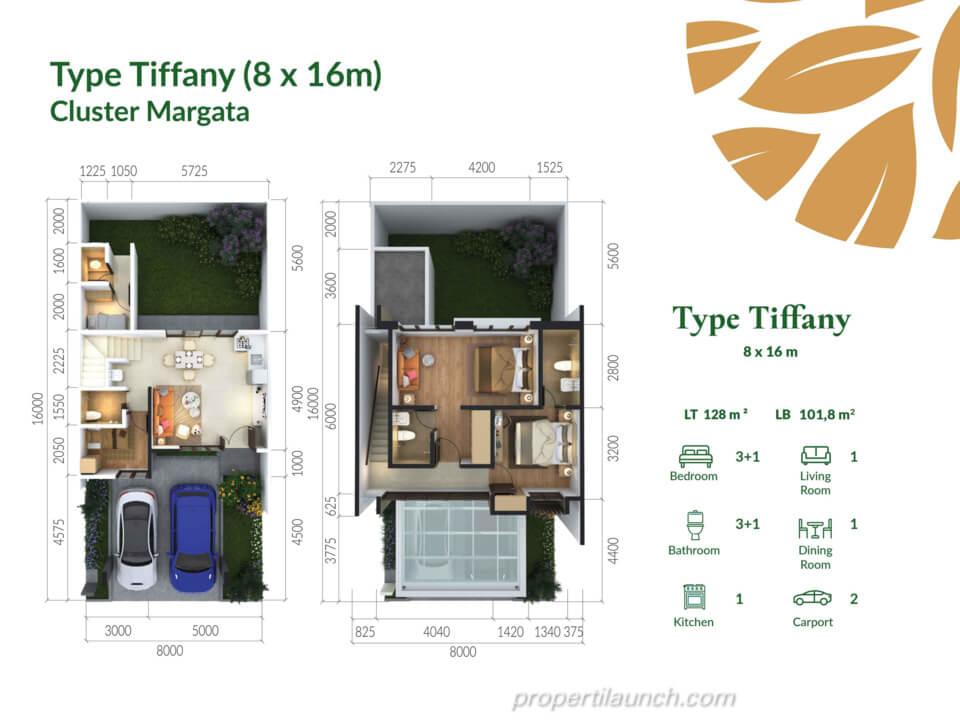 Denah Rumah Cimanggis Golf Estate cluster Margata tipe TIFFANY
