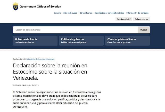 Suecia confirmó que organizó reunión de mediación sobre Venezuela