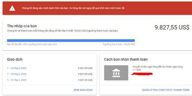 Thu nhập youtube với claim id