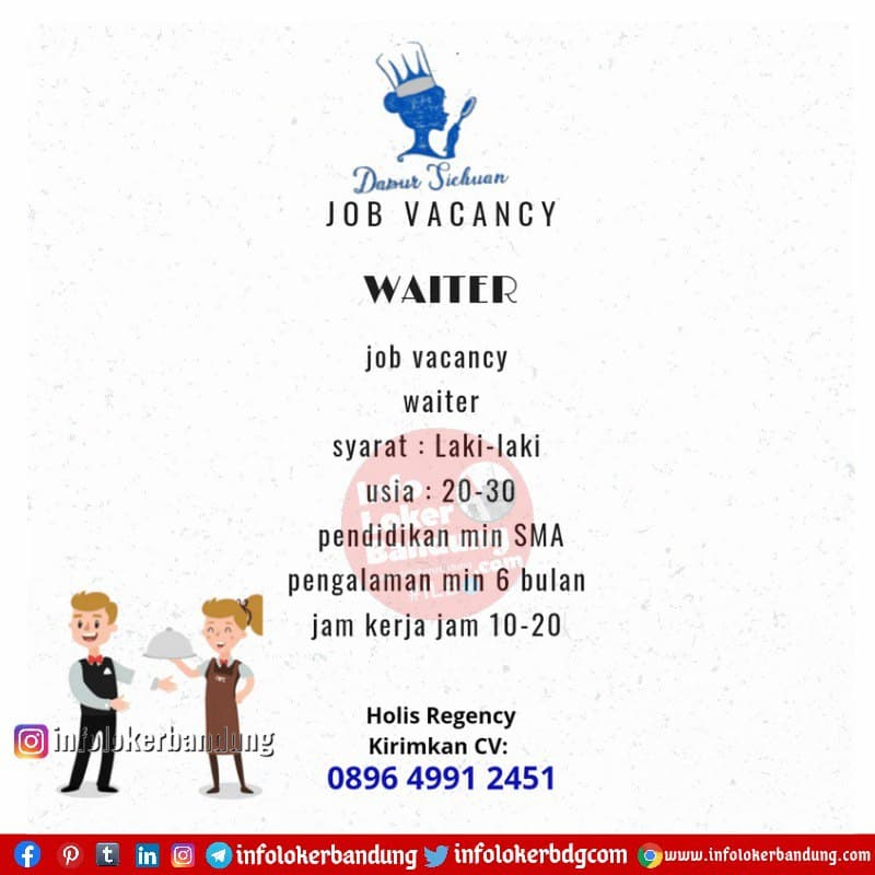 Lowongan Kerja Waiter Dapur Sichuan Bandung April 2021