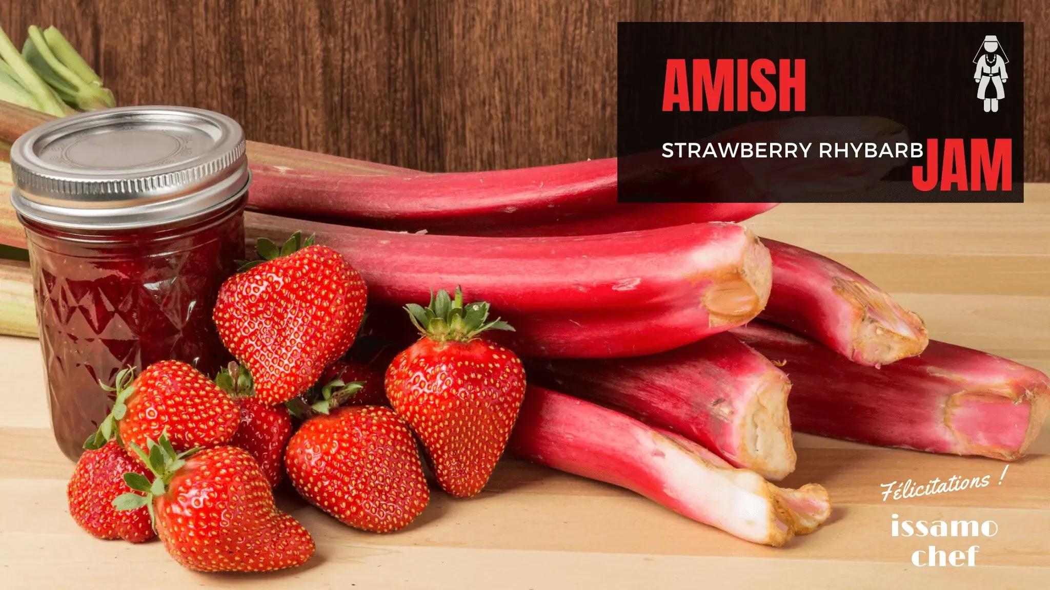 Strawberry kernels, rhubarb stalks, and jam jar