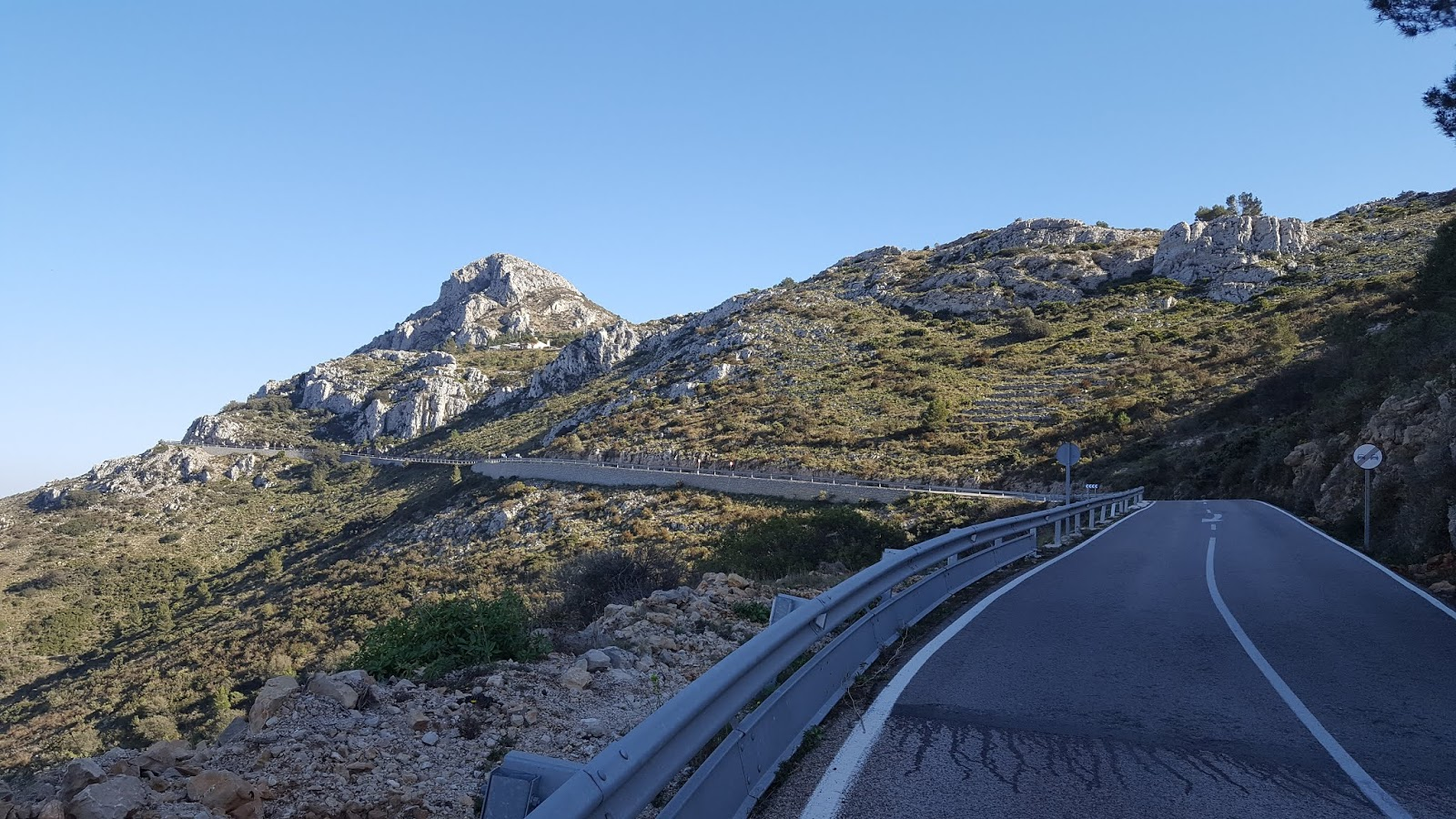 View of the road to the summit of Coll de Rates, Alicante