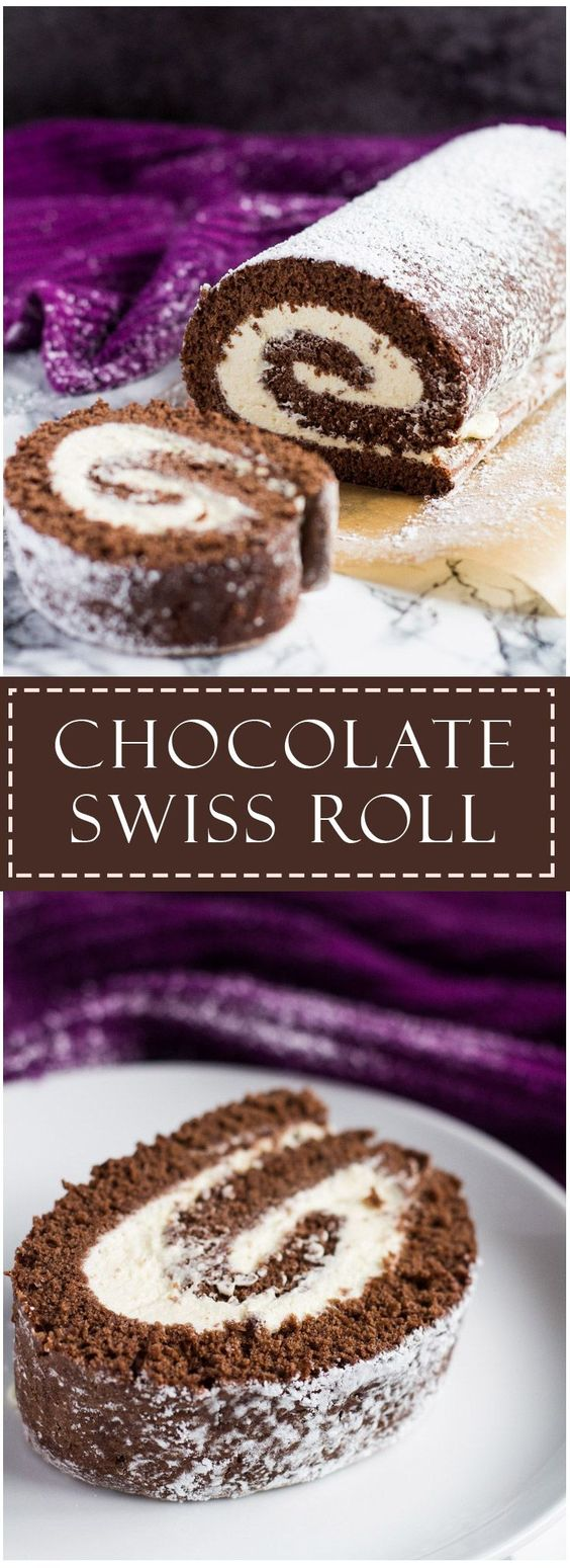 CHOCOLATE SWISS ROLL #dessert #roll #cake