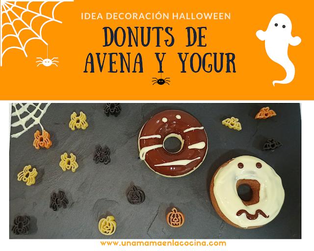 Donuts avena y yogur decorados para Halloween receta Una mamá en la cocina