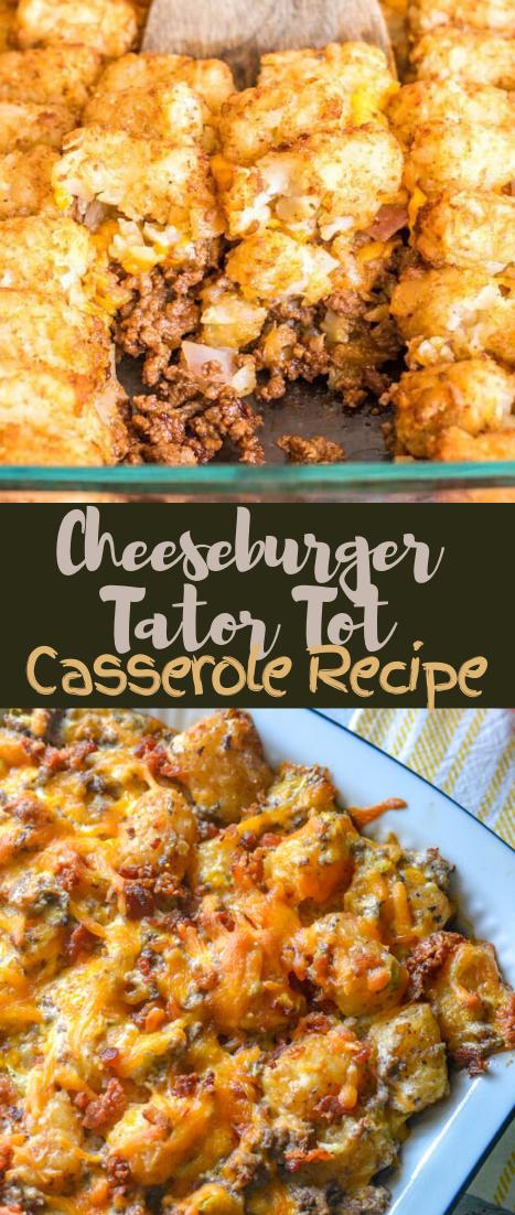 Cheeseburger Tator Tot Casserole Recipe #healthyrecipe #dinnerhealthy #ketorecipe #diet #salad