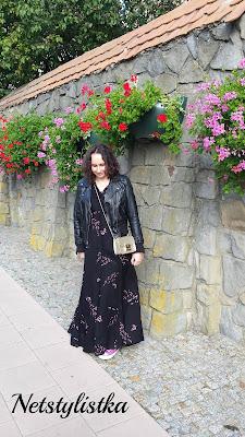 Stylizacja z maxi sukienką w kwiaty Zara blog modowy netstylistka blogerka modowa