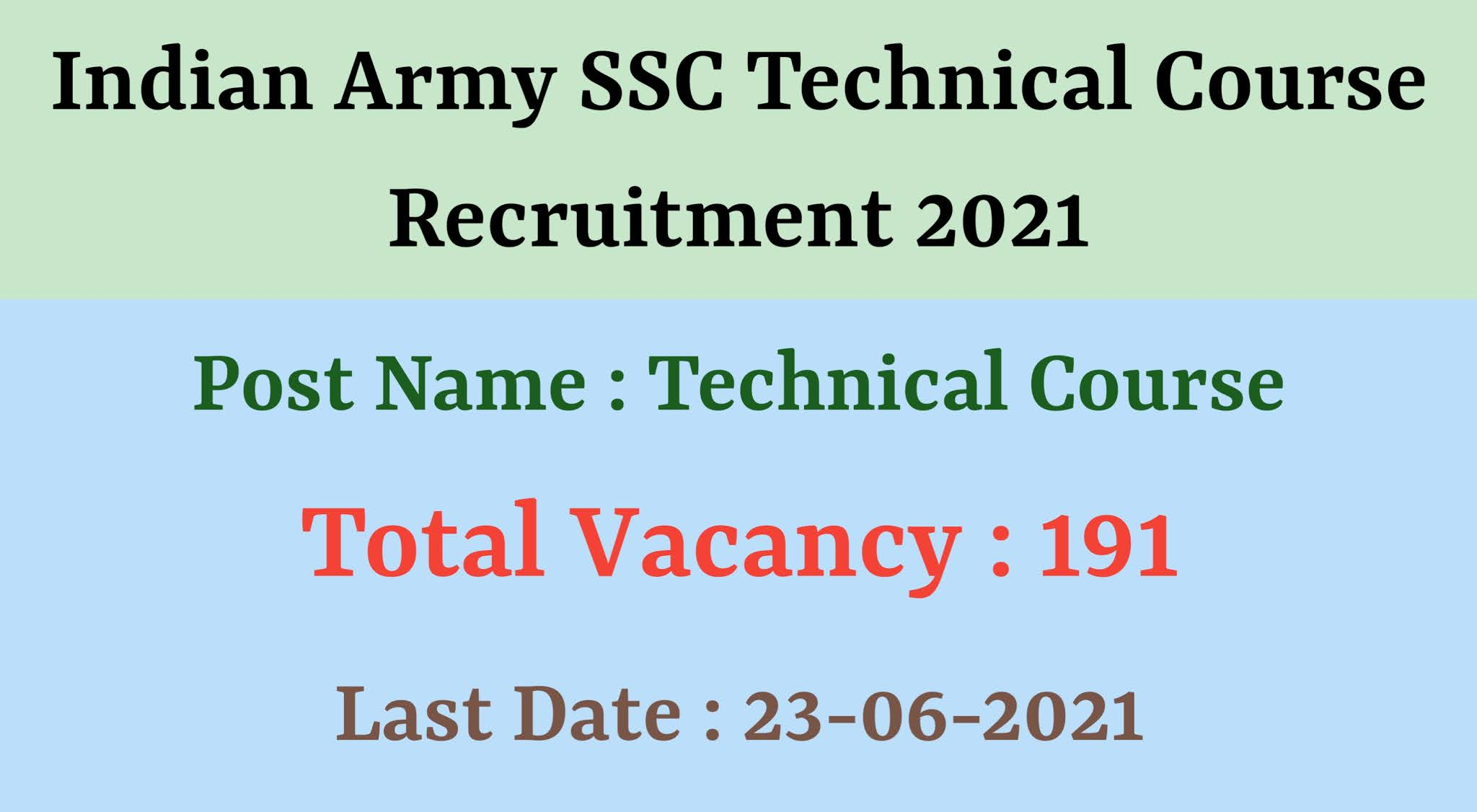Indian Army SSC Technical Course Recruitment 2021