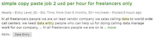 Searching freelance data entry job on upwork