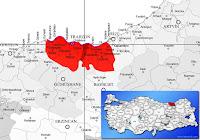 Arsin ilçesinin nerede olduğunu gösteren harita.