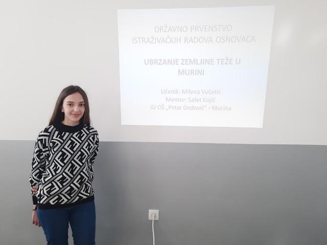 Milena Vučetić osvojila 3. mjesto na međunarodnom takmičenju istraživačkih radova osnovaca