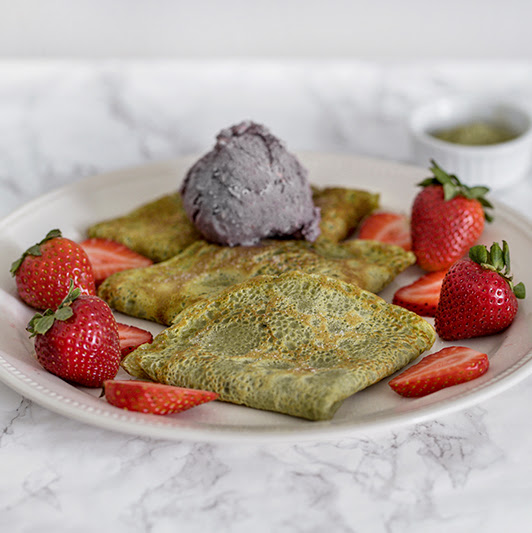Matcha Crepes with Strawberries and Black Sesame Ice Cream