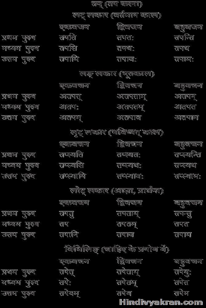 तप् धातु के रूप संस्कृत में – Tap Dhatu Roop In Sanskrit