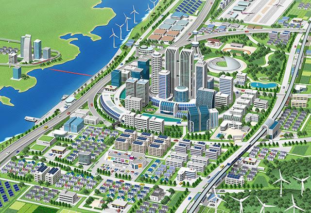 リアルイラスト、3DCG、俯瞰、スマートコミュニティ、ミニュチア、近未来、風景・建物イラスト、街並み