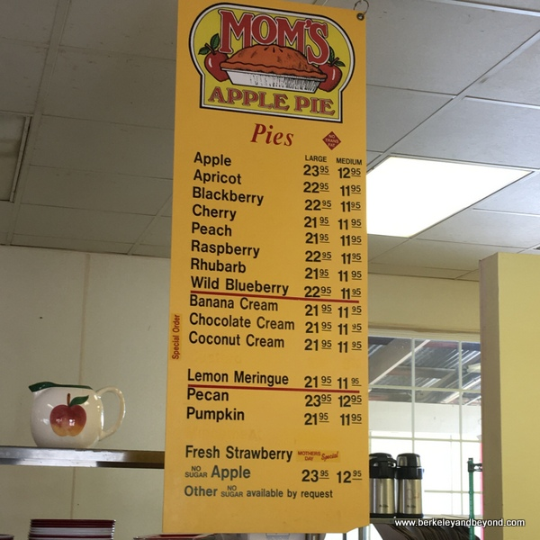 menu at Mom's Apple Pie in Sebastopol, California