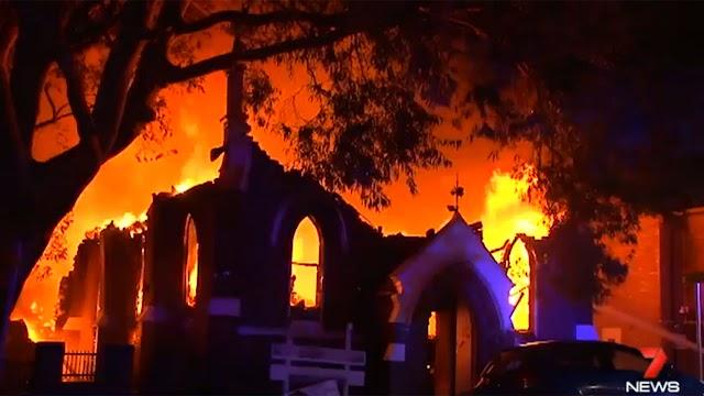 Large fire engulfs Macedonian Church in Rockdale