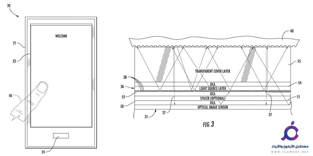 قامت ابل ببراءة اختراع جديدة وهي تفعيل ميزة Touch ID اسفل الشاشة