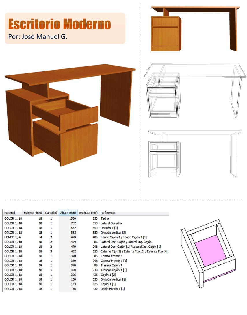 Dise o de muebles madera escritorio moderno dise o 3d for Escritorios para oficina dimensiones