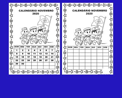 Calendário Novembro  turma da Mônica para imprimir colorir e preencher em 2020.