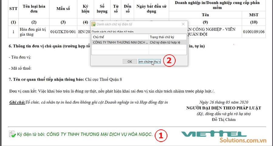Hình 1 - Xem thông tin chữ ký số Viettel-CA trên ứng dụng Itax Viewer