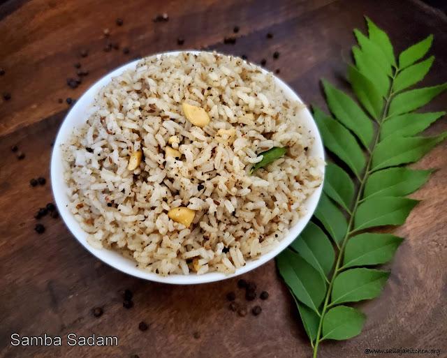 images of Samba Sadham Recipe / Pepper And Cumin Rice Recipe / Milagu Jeeraga Sadam / Chidambaram Samba Sadam