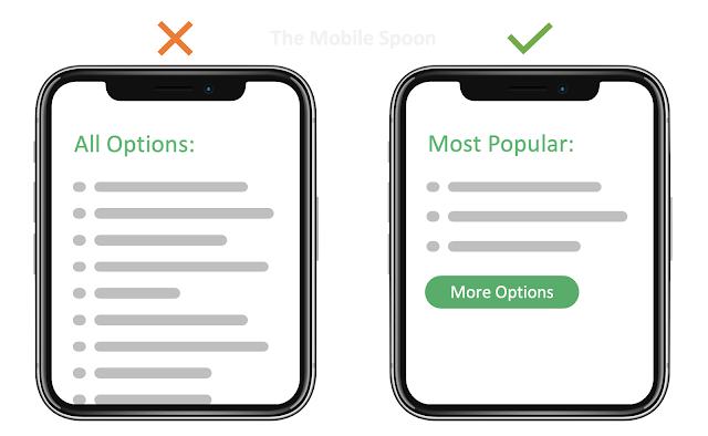 Analysis Paralysis - Too many options lead to poor conversion rate - the mobile spoon