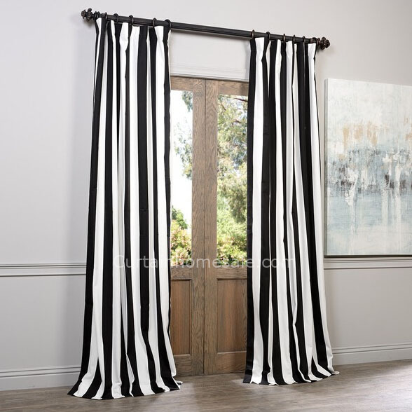 Classic Black and White Casual Country Style Striped Curtains