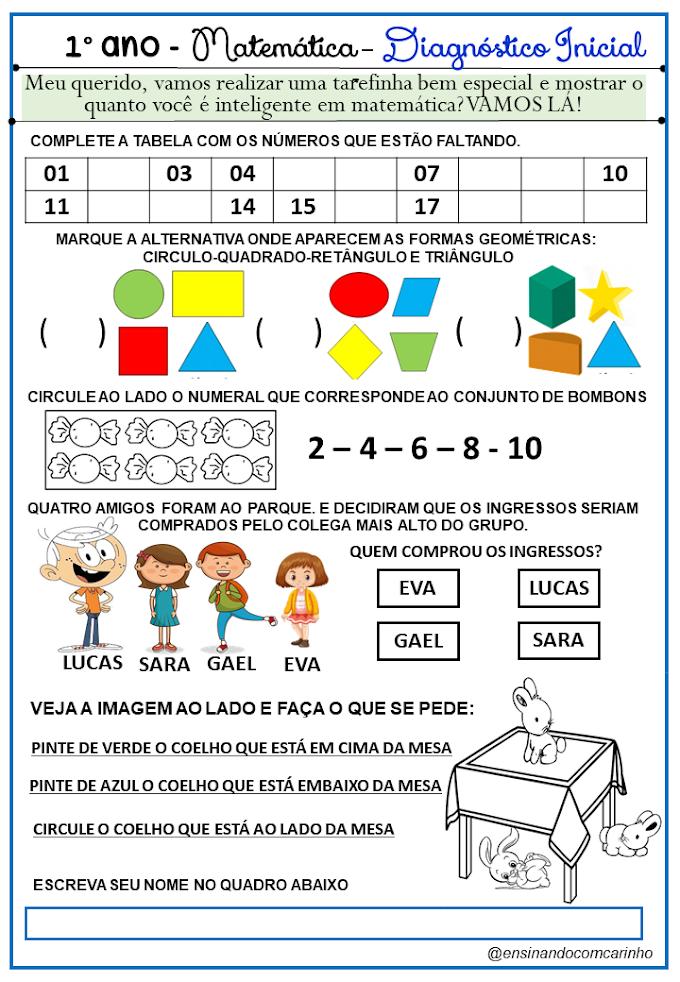 Diagnóstico Inicial de matemática para o 1º ano do ensino fundamental