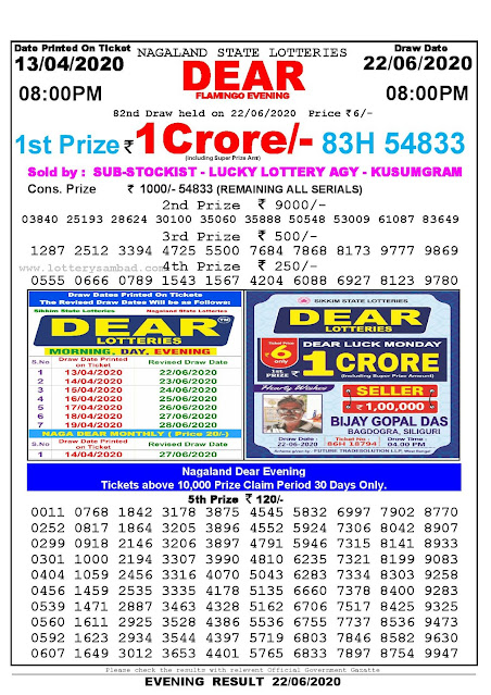 Nagaland State Lottery Sambad 13-04-2020 Today Result 8 PM