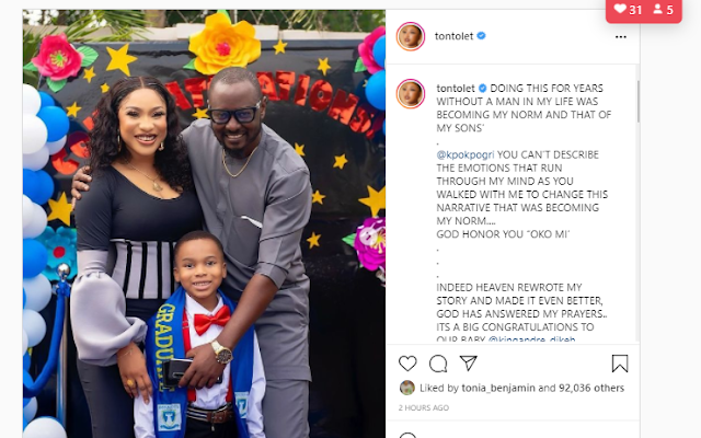 You change the narrative that was becoming my norm – Tonto Dikeh praises her man, Prince Kpokopogri (Photo)