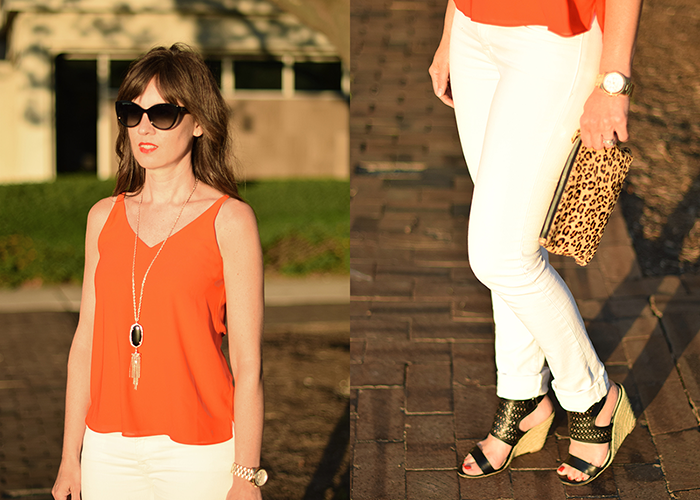white denim, red tank, kendra scott