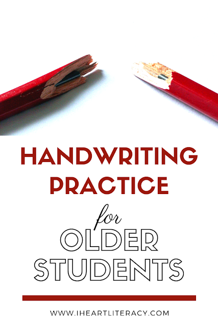 """Handwriting Practice for Older Students - Have you ever had a really bright student turn in work so illegible that you have no idea what he's trying to say? Or can you tell exactly whose paper was turned in without a name on it because their handwriting is """"distinct?"""" Yeah, me too. Let's talk about what we can do for older students who need help with their handwriting skills. #handwriting #upperelementary #middleschool"""