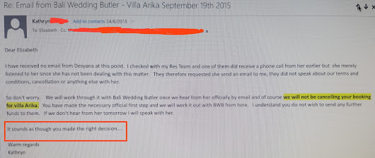 More on Bali Wedding Butler with emails exchange between us