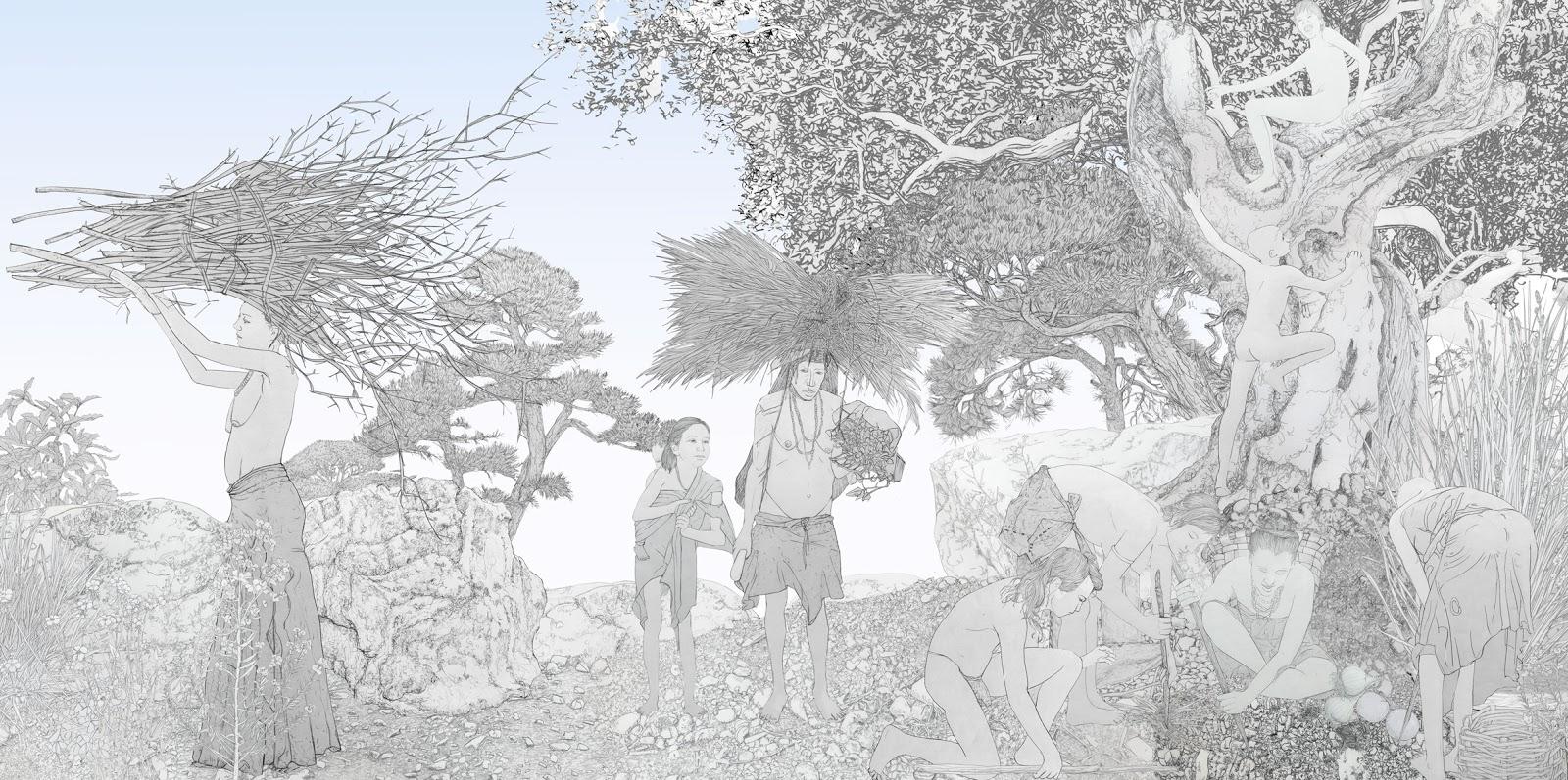 mujeres en la prehistoria, recolectoras, dibujo