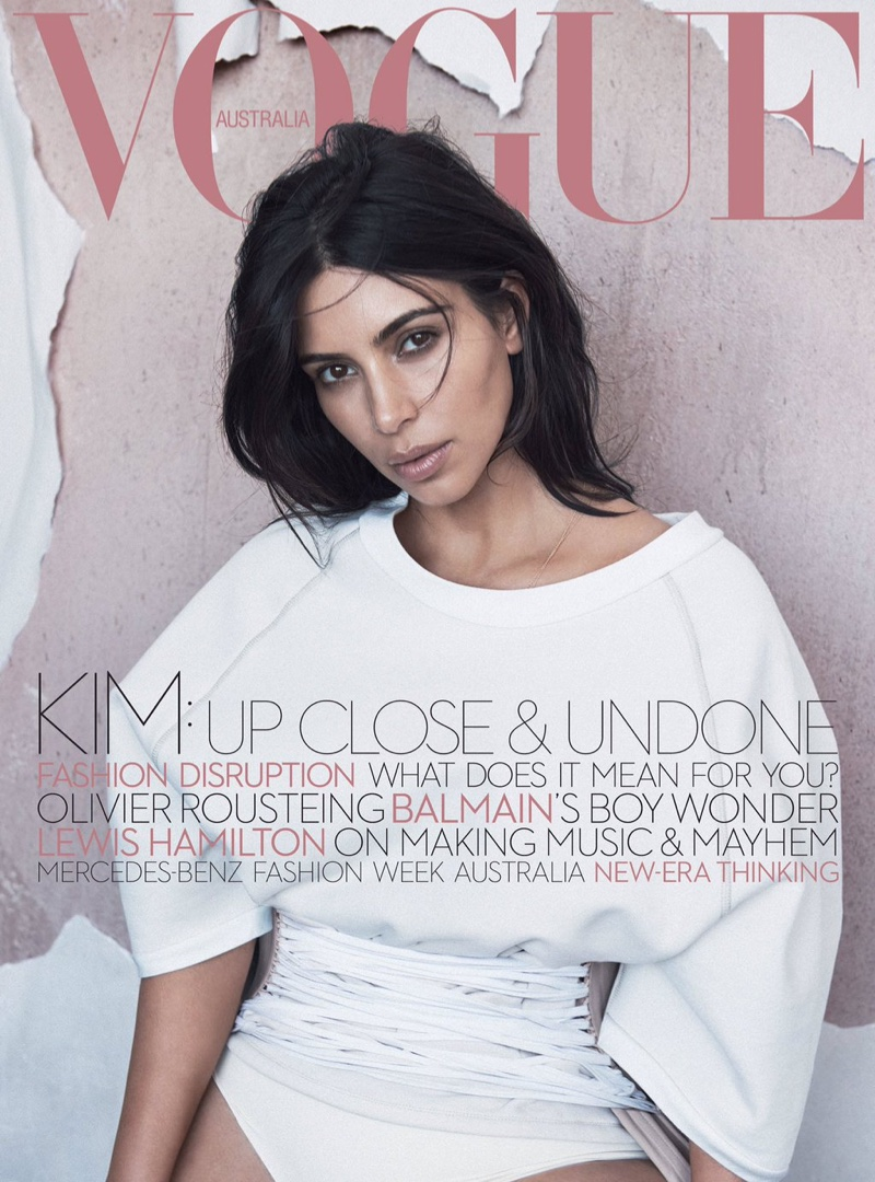 Kim Kardashian wears corsets for Vogue Australia June 2016