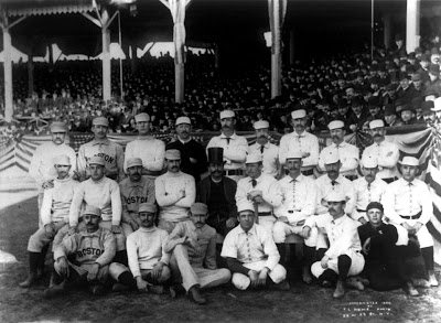 New York and Boston players on opening day, 1886, at the Polo Grounds
