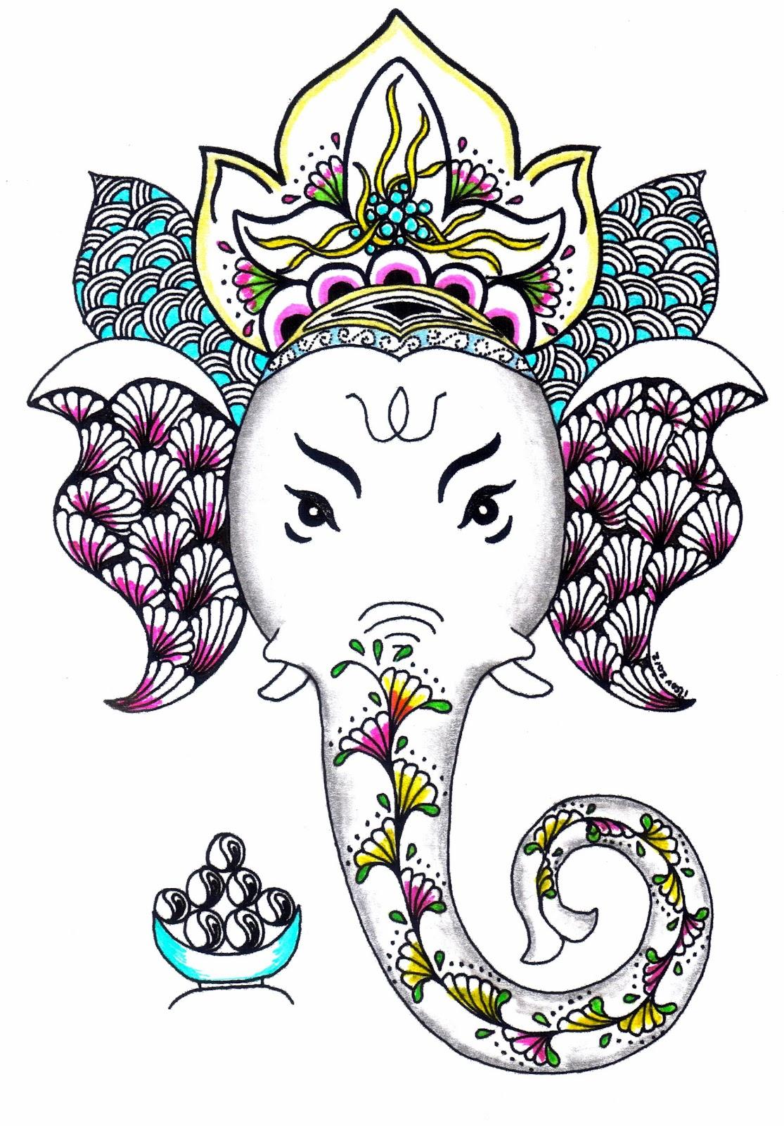 Pen and Paper Art: Zentangle-Ganesha