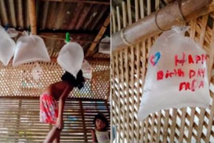 Sedih Banget! Anak Dari Keluarga Miskin Ini Buat Balon Dari Plastik Untuk Ulang Tahun Ayahnya