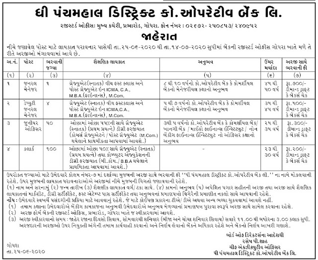 The Panchmahal District Co-Operative Bank Limited Recruitment for 155 Clerk, Junior Officer & Other Posts 2020