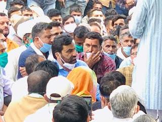 सांसद हनुमान बेनवाल ने किया डांगियावास दोहरे हत्याकांड को लेकर पुलिस कमिशनरेट का घेराव,