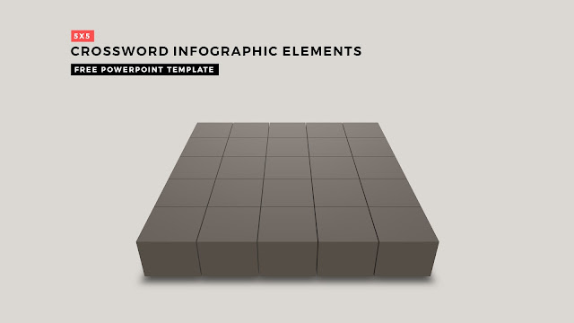 Crossword Puzzles Infographic Elements with 5x5 Basic Frame for PowerPoint Templates