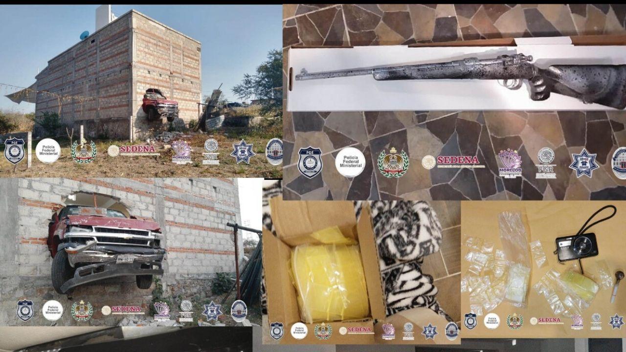 """Autoridades de Morelos madrugan a sicarios de """"Los Rojos"""", les decomisan casa de seguridad con fuerte arsenal y drogas"""