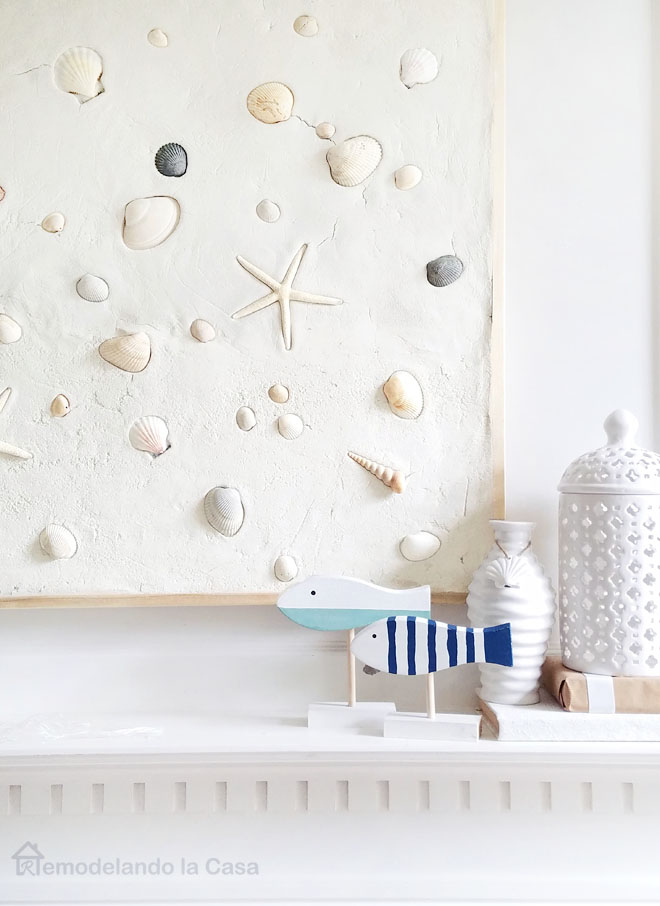 starfish, shells, art project for mantel - summer - coastal - white lantern, wooden fish