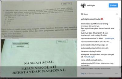 Viral ! Beredar Soal USBN Mata Pelajaran PKn Sudutkan Umat Islam