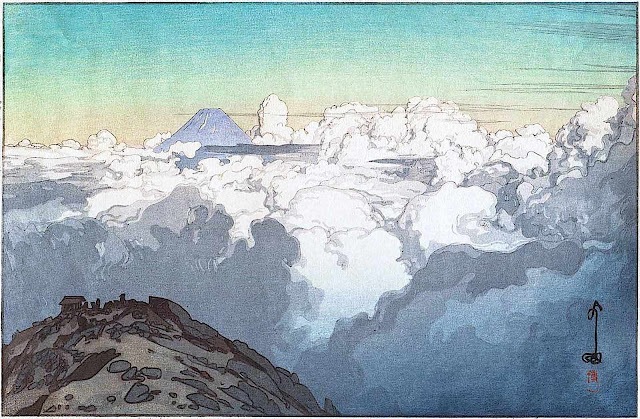 a Yoshida Hiroshi print, above the clouds