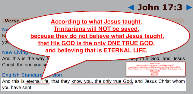 According to Jesus own teachings, Trinitarians will NOT be saved, because they do not believe what Jesus taught, that His GOD is the only ONE TRUE GOD, and believing that is ETERNAL LIFE. John 17:3.