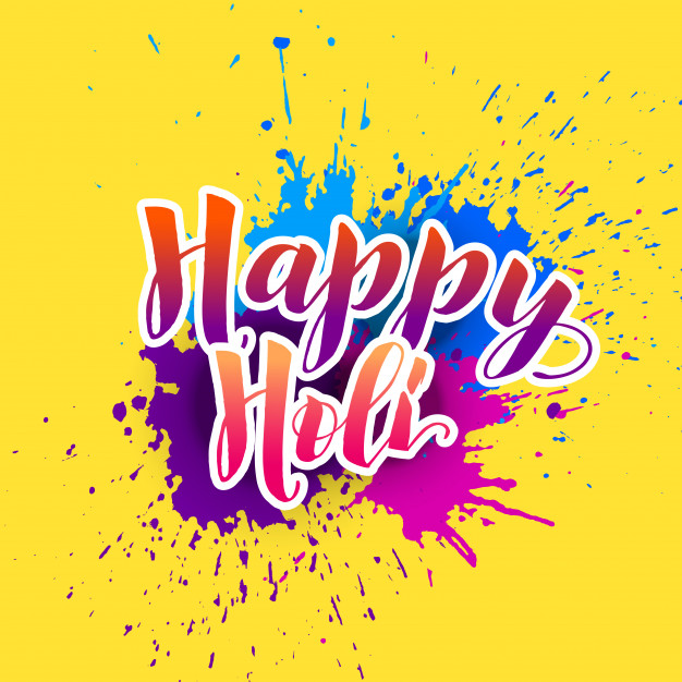 Happy holi background with colorful splash Free Vector