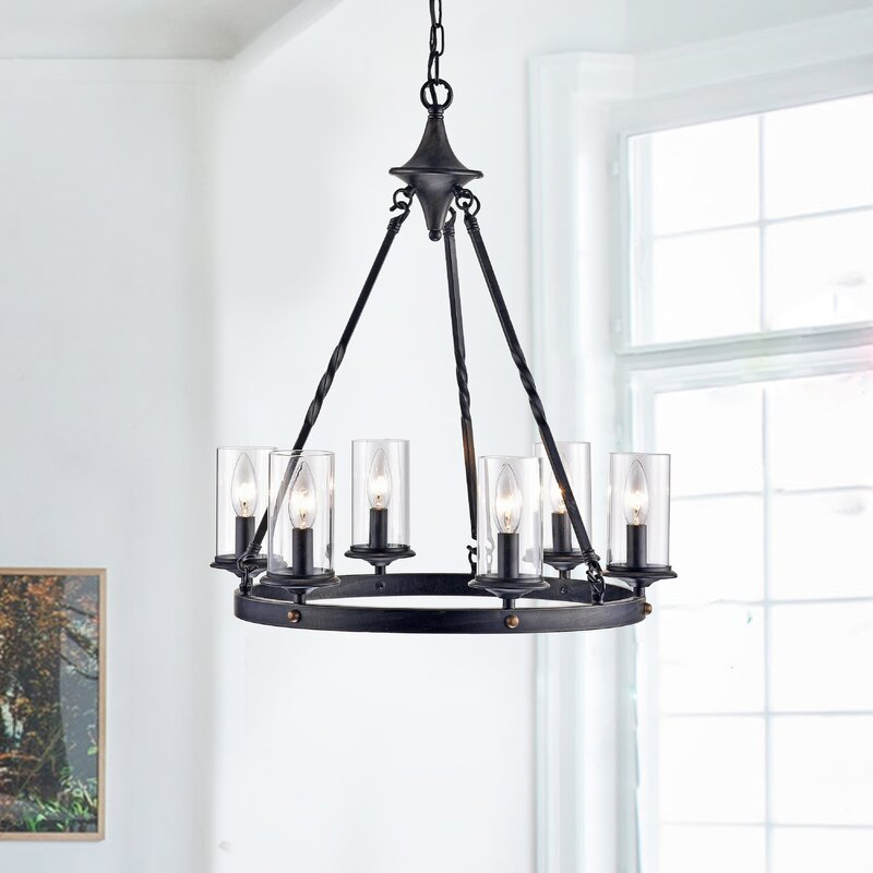 Black metal chandelier with glass