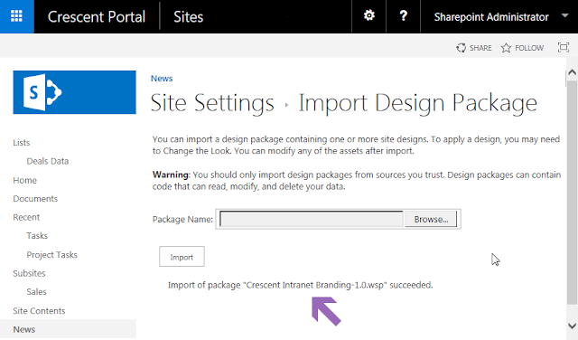 sharepoint online import design package