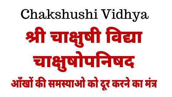 चाक्षुषोपनिषद | Shri Chakshushi Vidhya | Chaakshushopnishad |